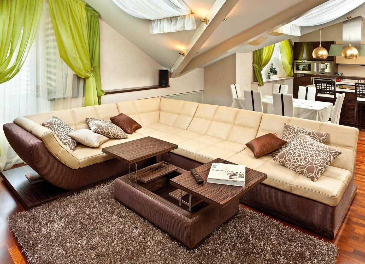 Кожаный модульный диван