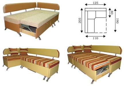 Размеры уголка со спальным местом