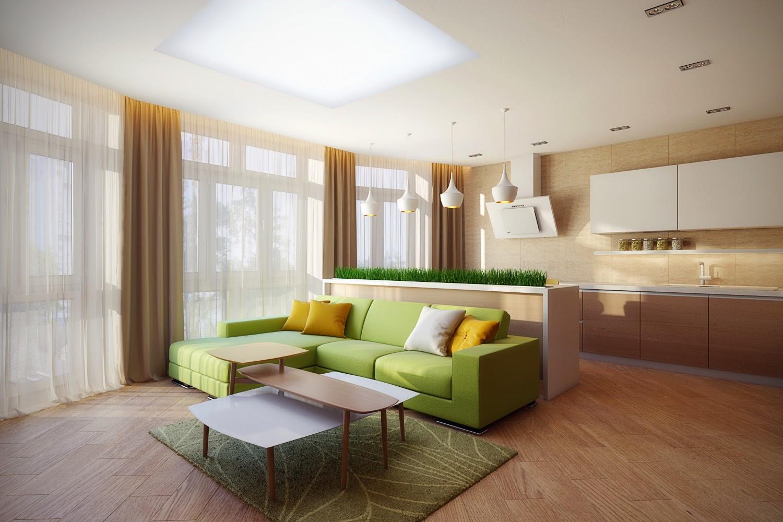 Салатовый диван в кухне гостиной