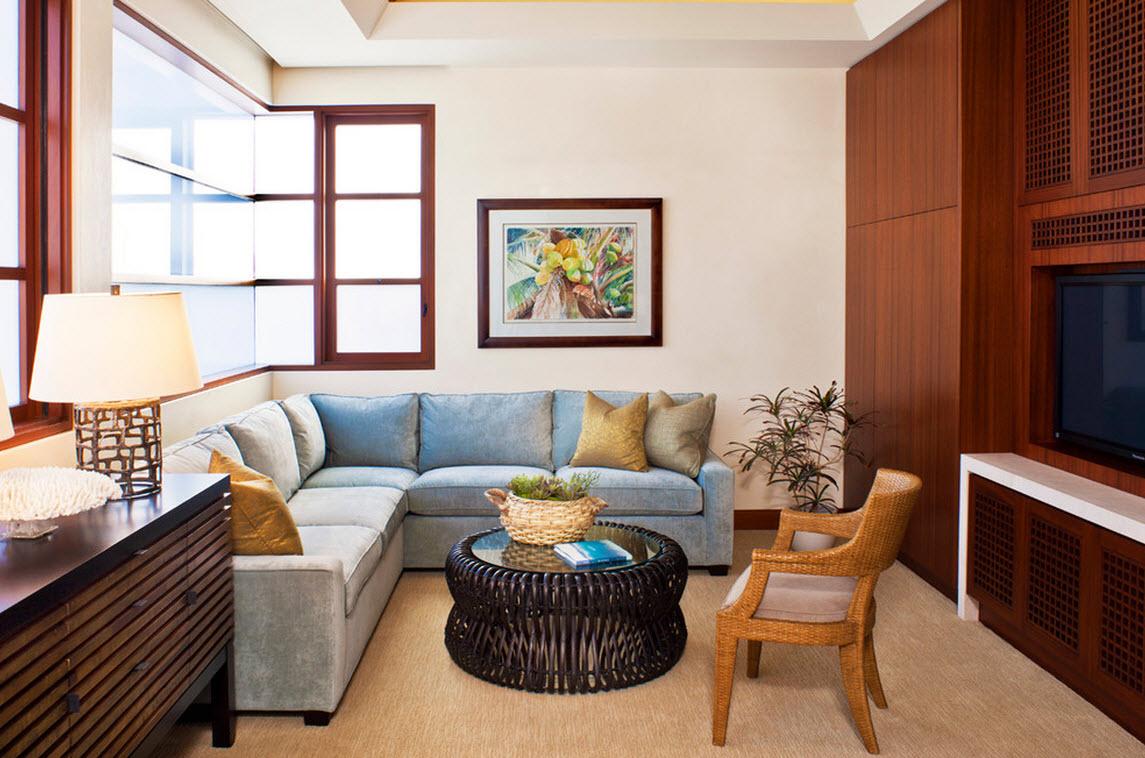 Угловой диван с велюровой обивкой в интерьере