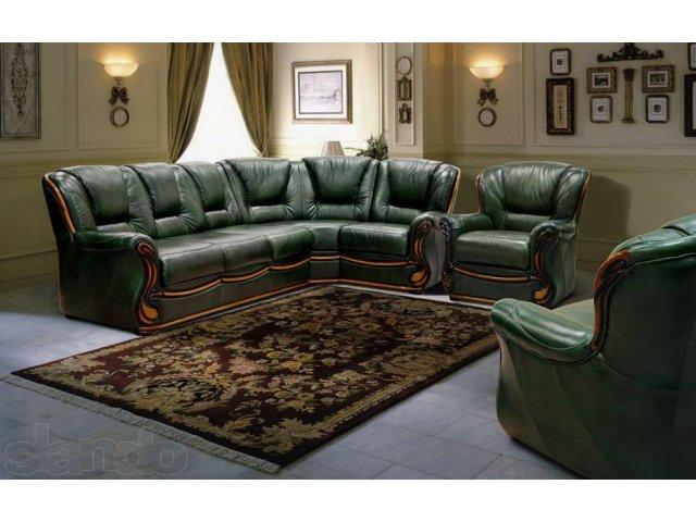 Угловой темно зеленый диван
