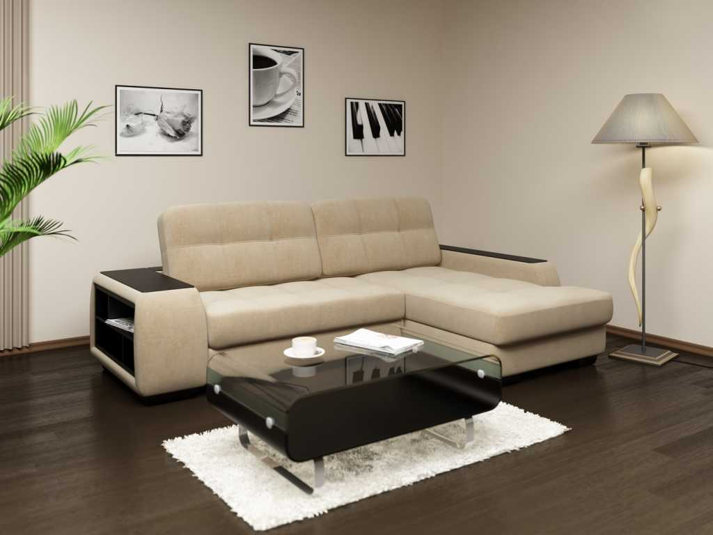 Угловые диваны в интерьере маленькой комнаты