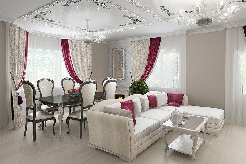 В центре комнаты расположен угловой диван с красными подушками
