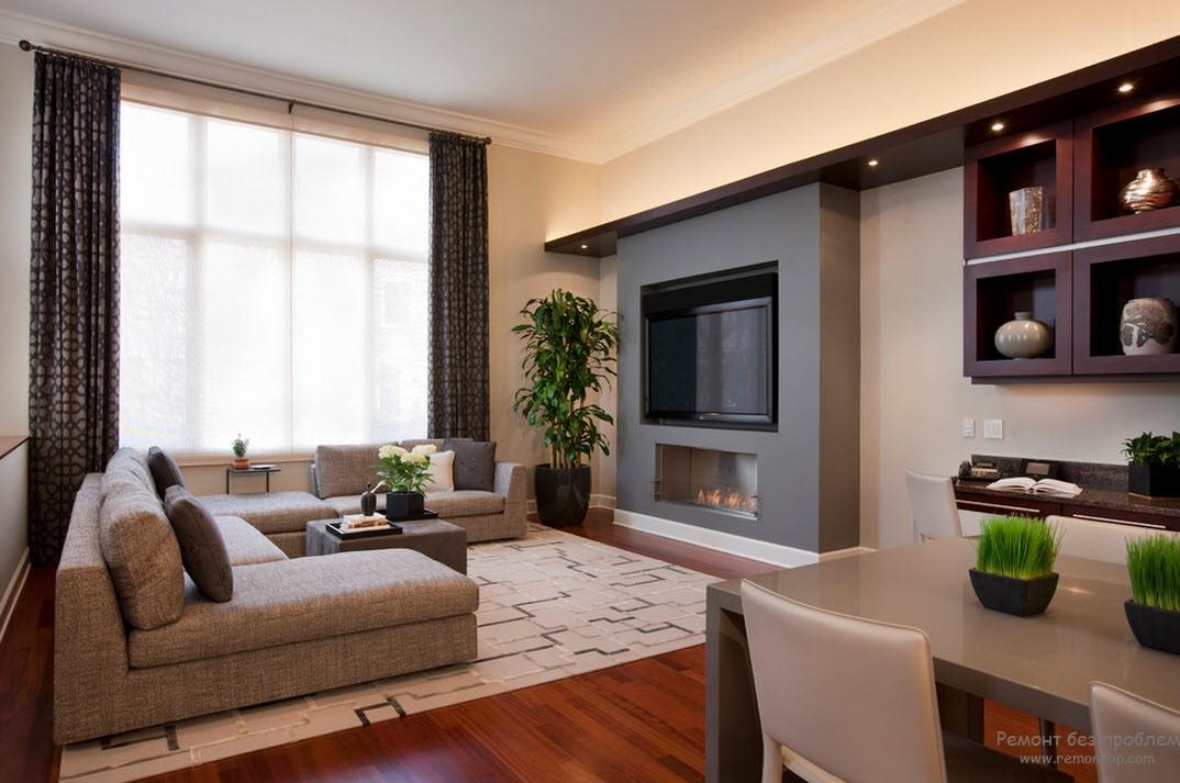 Выигрышное расположение углового дивана у окна зала