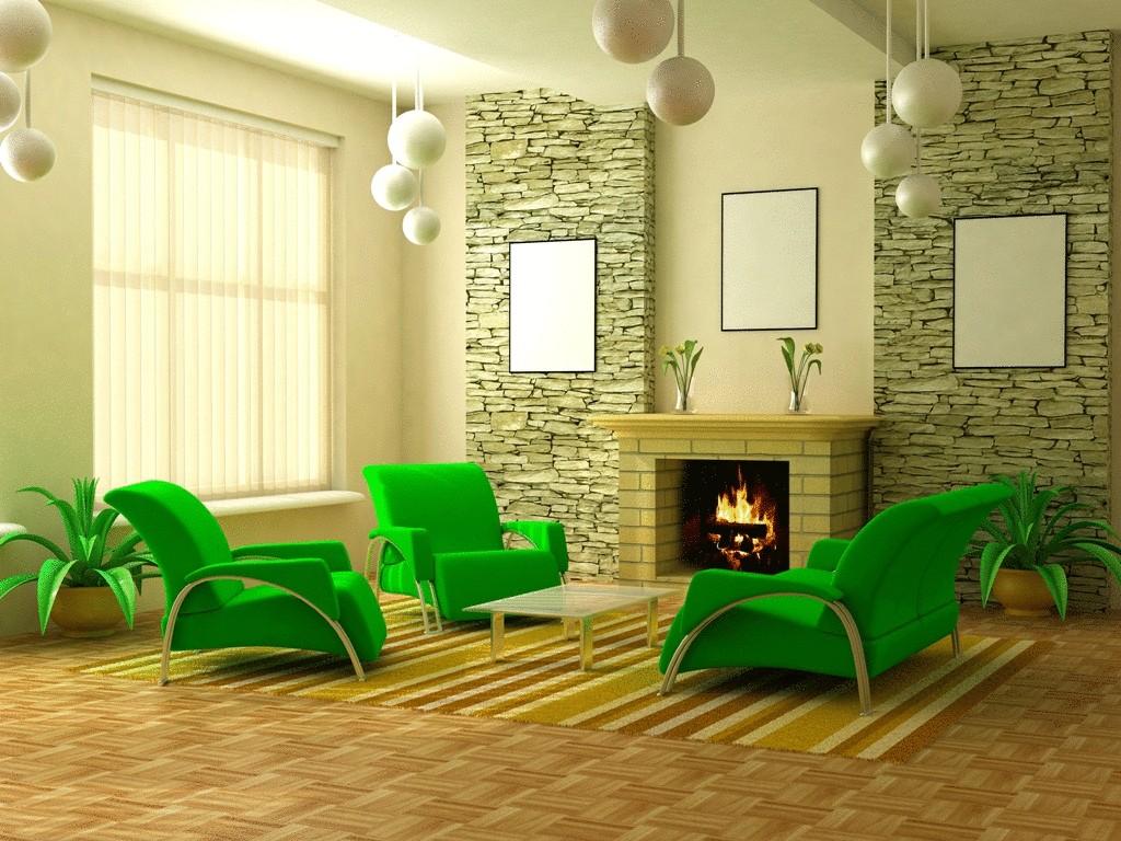 Яркая зеленая мебель