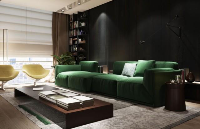 Зеленый диван и насыщенные панели из темного дерева