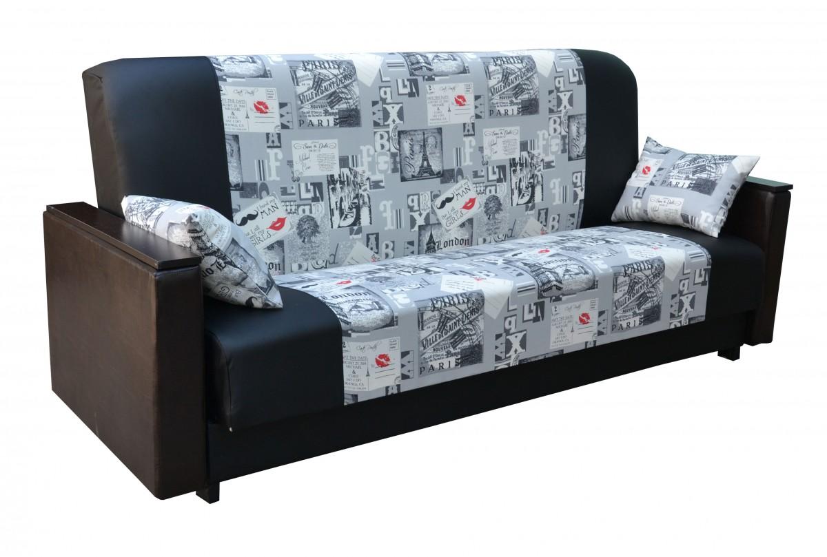 Черный диван со вставками