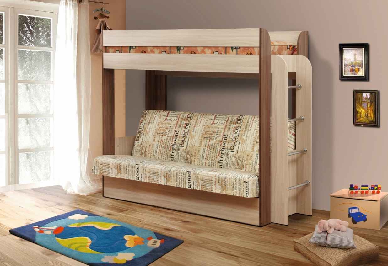 Двухъярусный диван чердак