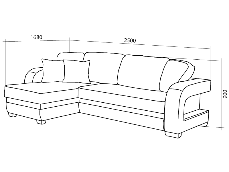 Габариты углового дивана
