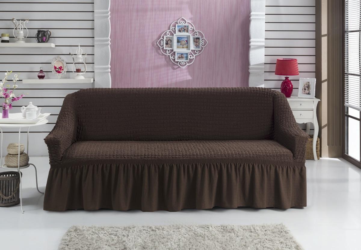 Коричневый чехол на диван