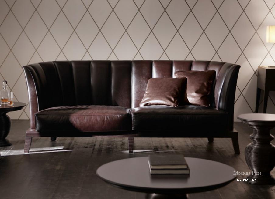 Кожаный диван со спинкой