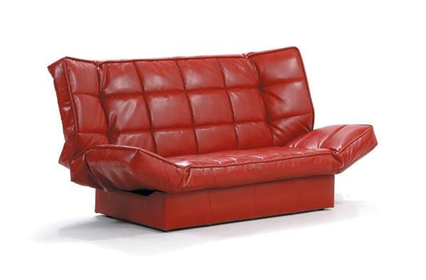 Кожаный красный диван