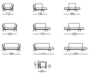 Размеры диванов кушеток