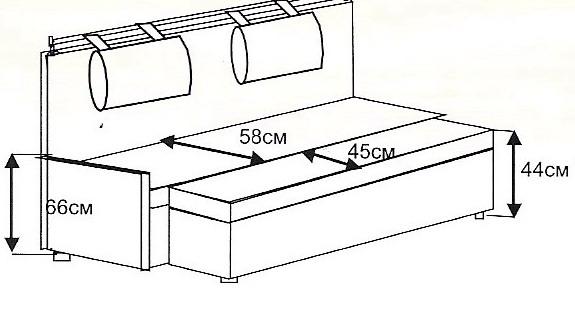 Размеры небольшого кухонного дивана