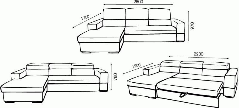 Размеры углового дивана