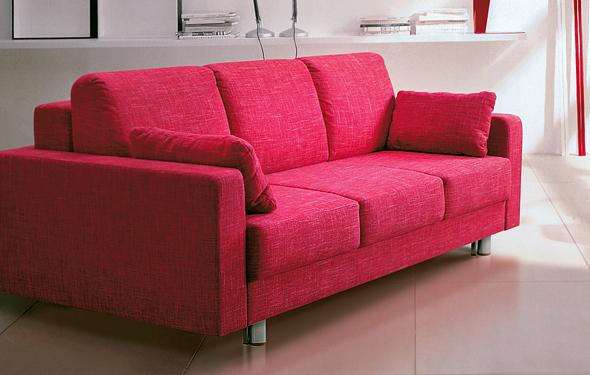 Розовый диван со спинкой