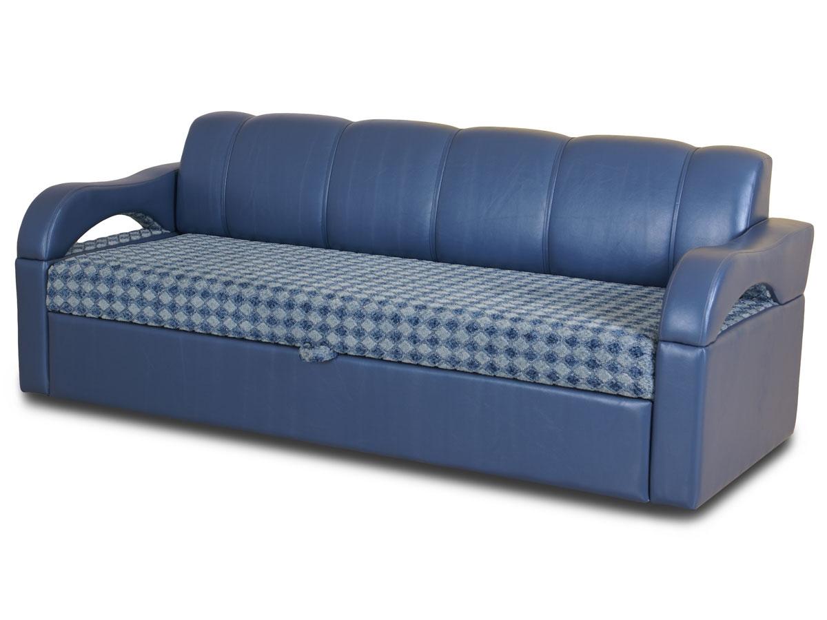 Синий диван из кожзама