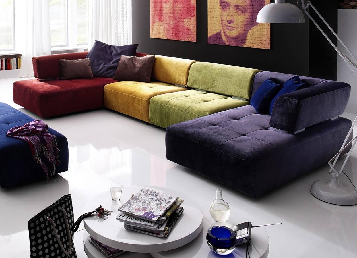 Цветной угловой диван