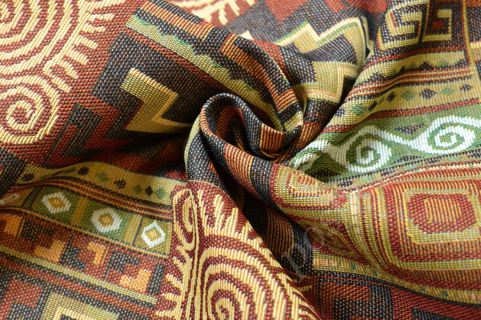 Ткань гобелен в коричневый геометрический узор