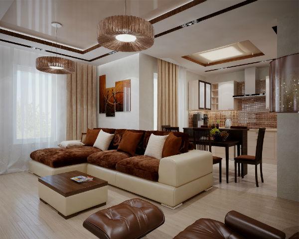 Угловой диван в квартире студии