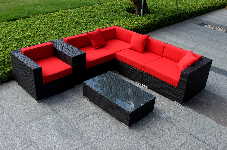 Угловой модульный диван из ротанга