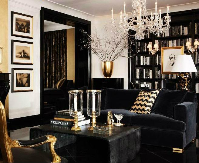 Аристокрастичный стиль современного черного дивана