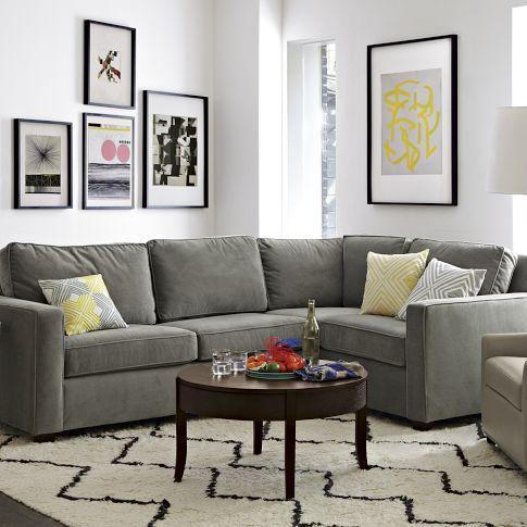 Бархатный серый красивый диван