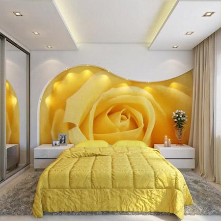 Бледный оттенок желтой кровати
