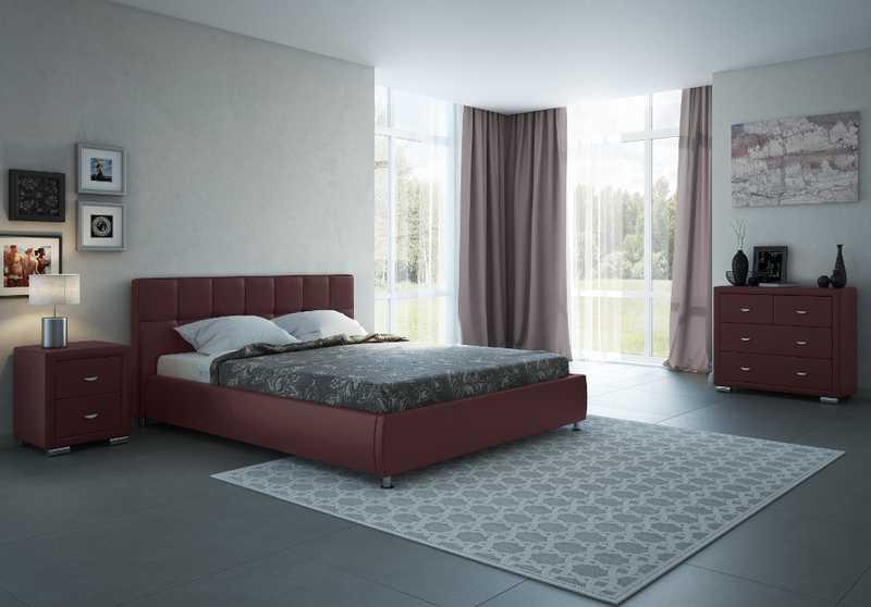 Бордовая кровать