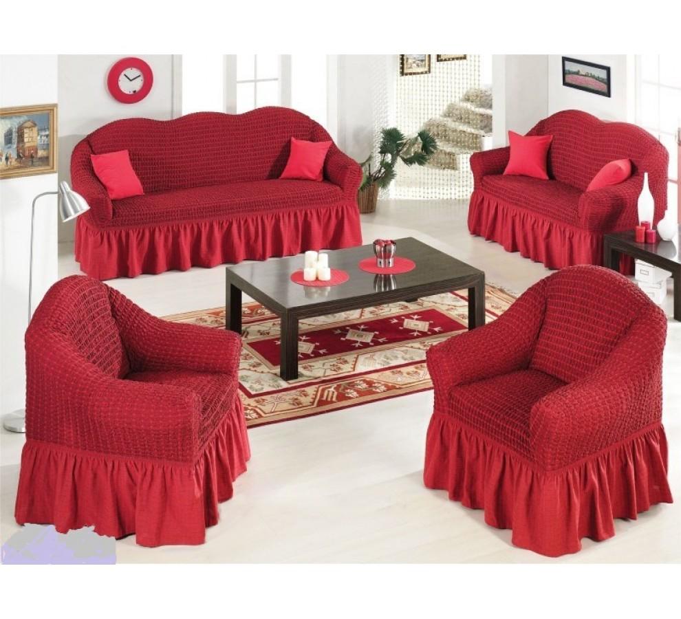 Бордовые диваны выглядят шикарно