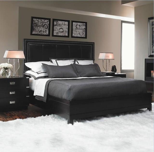Черное оформление кровати для дома