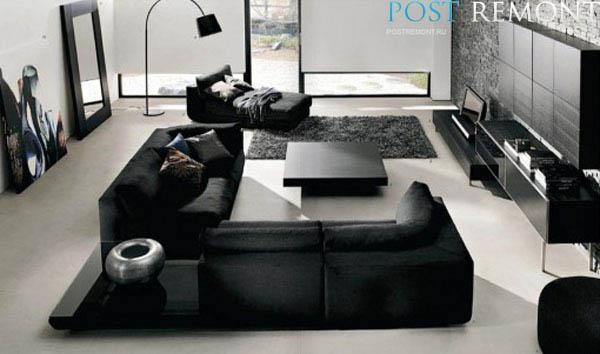 Черный современный диван для дома