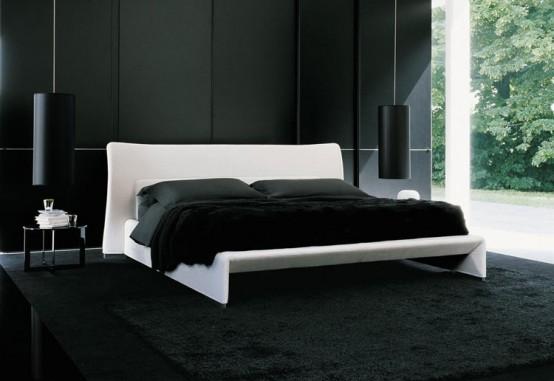 Черный вариант оформления современной кровати
