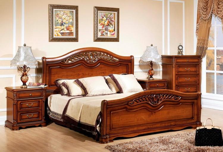 Деревянная коричневая кровать для спальни