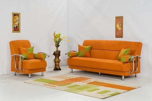 Диван, созданный в оранжевом цвете