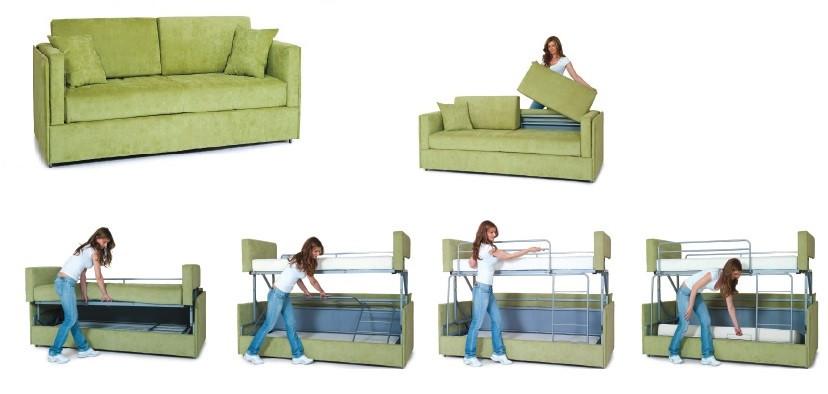 Диван трансформер в двухъярусную кровать