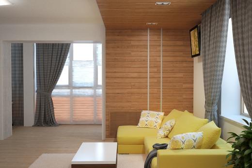 Диван в гостиной желтого цвета