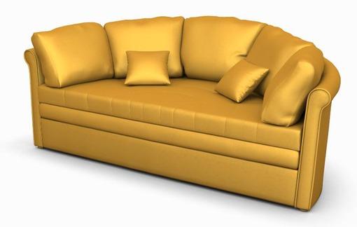 Диван, выполенный в желтом цвете с золотым оттенкам