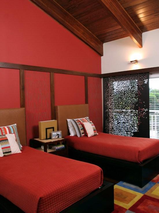 Дизайн интерьера спальни красного цвета