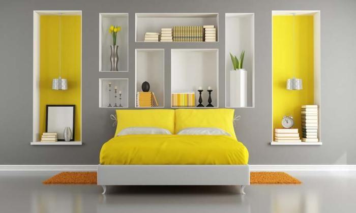 Дизайн современной желтой кровати