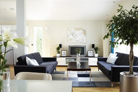 Два черных дивана в современном стиле