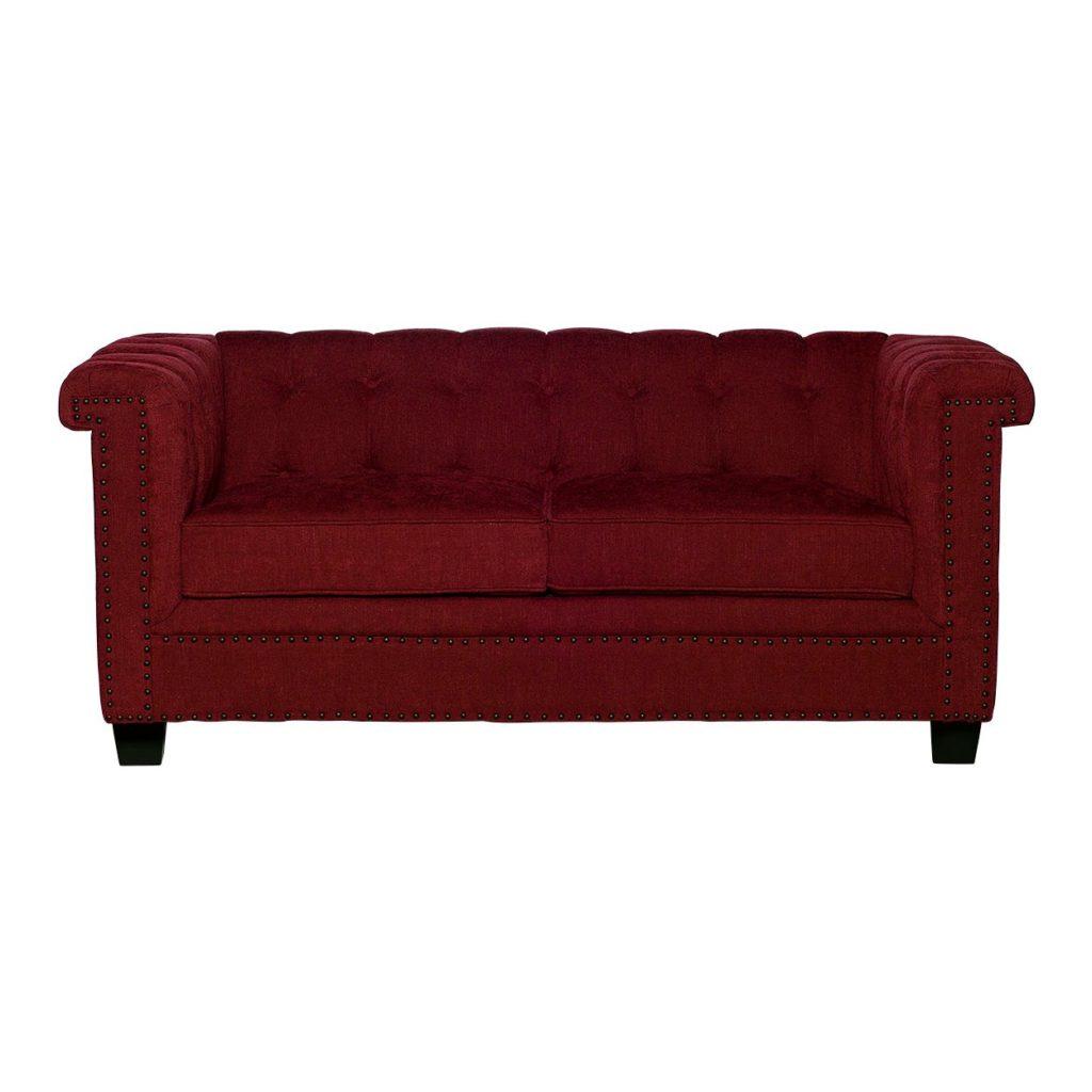 Двухместный диван бордового цвета