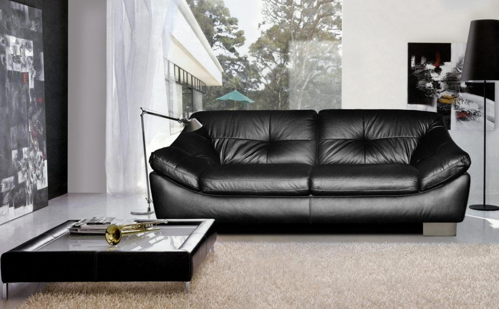 Двухместный красивый черный диван