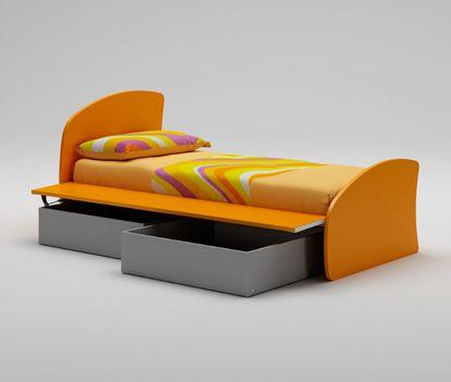 Функциональная оранжевая кровать