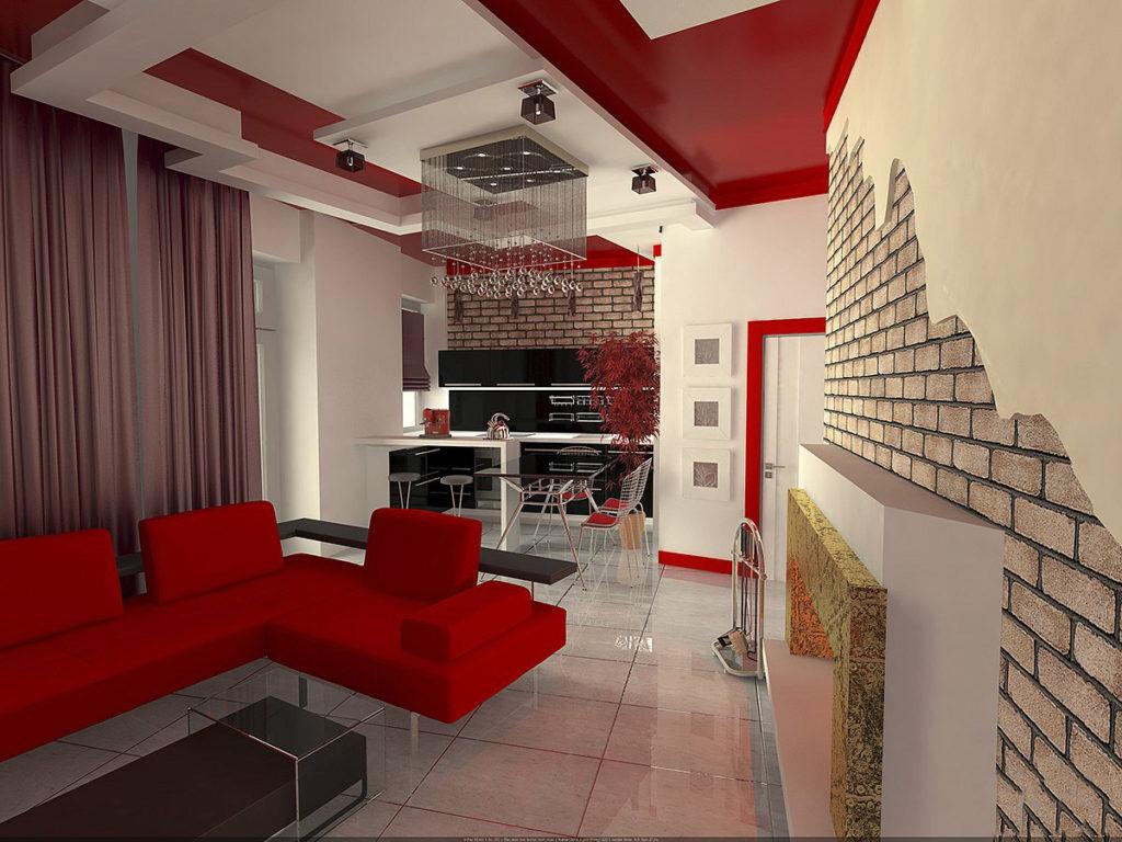 Гостиная с красным диваном