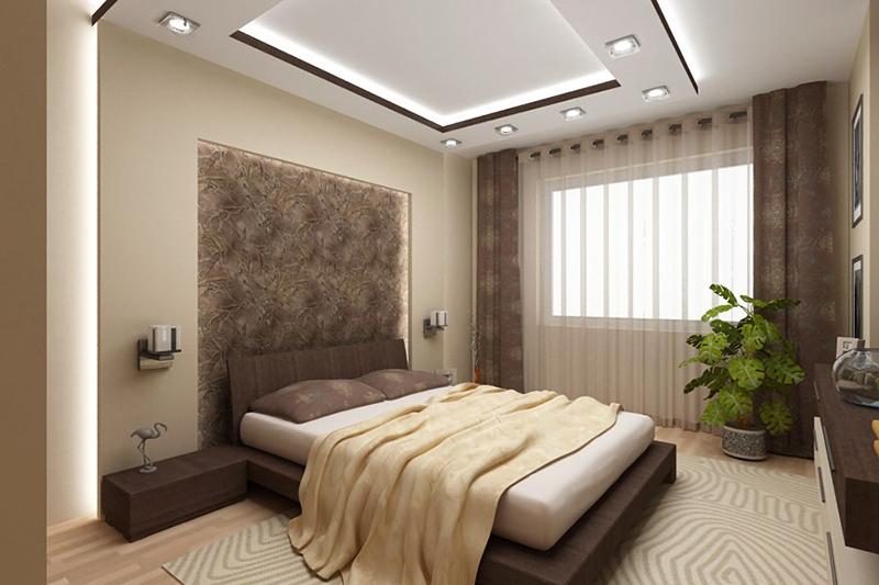 Интерьер комнаты с коричневой кроватью
