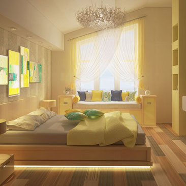 Интерьер комнаты с привлекательной желтой кроватью