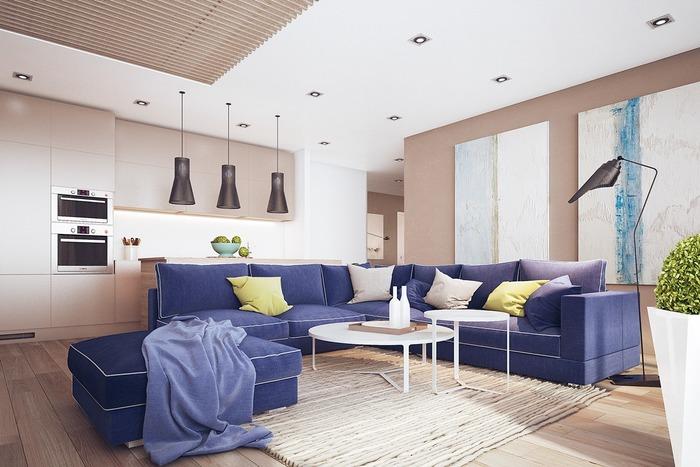 Интерьер комнаты с синим диваном