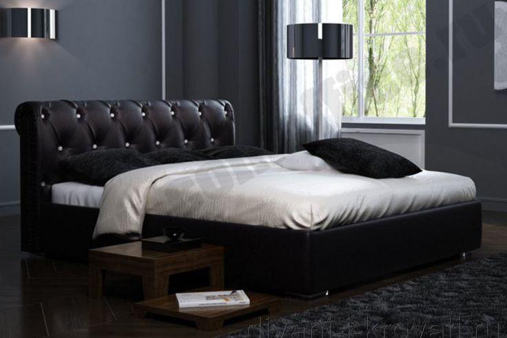 Интерьер спальни с черной красивой кроватью