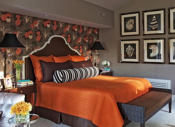 Как красиво оформить кровать оранжевого цвета